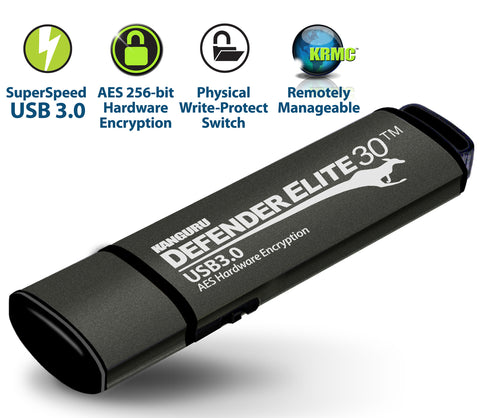 Kanguru Defender Elite30, AES 256-bit hardware encryption, SuperSpeed USB 3.0 interface, a physical write protect   switch, onboard anti-virus and remote management capabilities