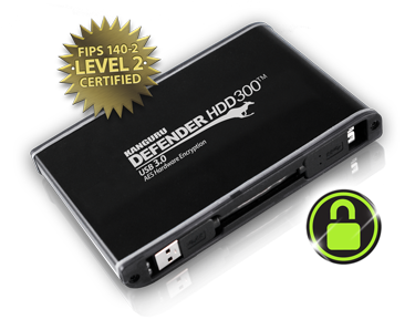 Secure Hard Drive, FIPS 140-2 Certified, Kanguru Defender HDD300 and SSD300