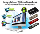 Kanguru offers a seamless integration of Defender AES 256-Bit hardware encrypted secure storage drives and fully-integrated Remote Management