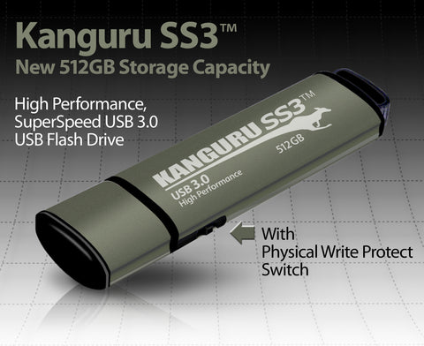 Kanguru launches the world's largest capacity flash drive with a physical write protect switch - Kanguru SS3 with 512GB