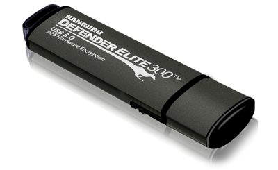 Kanguru Defender Elite300™ FIPS 140-2 Certified, Secure, SuperSpeed USB 3.0, Hardware Encrypted Flash Drive