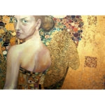 Beautiful Lady in Gold Mint Decoupage Paper