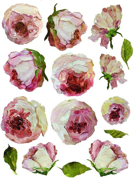 "IOD Painterly Florals Decor Transfer Set (pad of 8 12""x16"" sheets)"