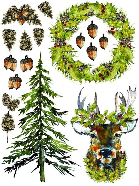 "IOD Woodland Christmas Decor Transfer Set (pad of 8 12""x16"" sheets)"