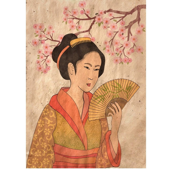 *NEW* Geisha Reversed Mint Decoupage Paper