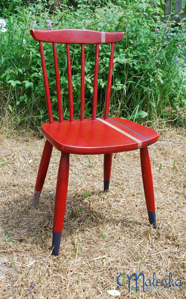 Red Racing Stripe chair in Emperor's Silk by Malenka Originals.