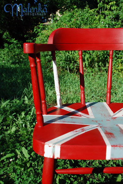 Union Jack chair in Emperor's Silk, Duck Egg Blue and Old White by Malenka Originals.