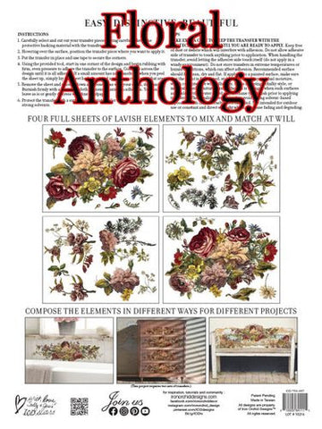 "*PRE ORDER* FLORAL ANTHOLOGY TRANSFER PAD (12""x16"" pad-4 sheets)"
