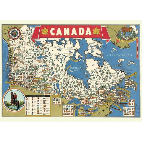 Vintage Canada Map Paper + Hanging Kit