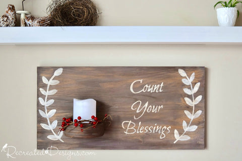 Count Your Blessings Candle Sign