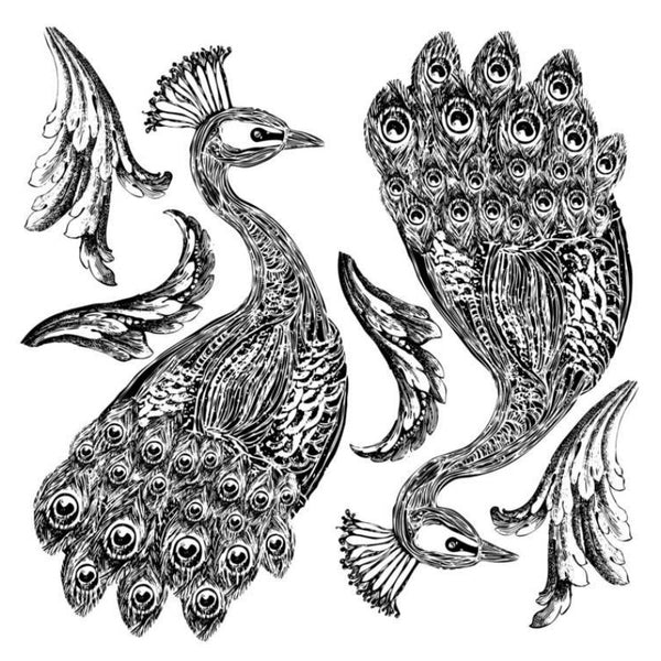 NEW 'Pavo' (2 sheets) IOD Decor Stamp