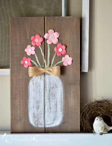Mason Jar with Flowers Sign