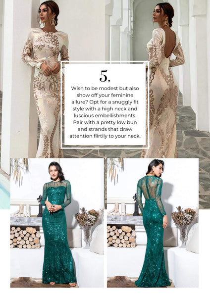 Modest high neck with detailed dress