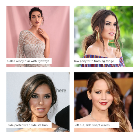 Hairstyles with off shoulder necklines