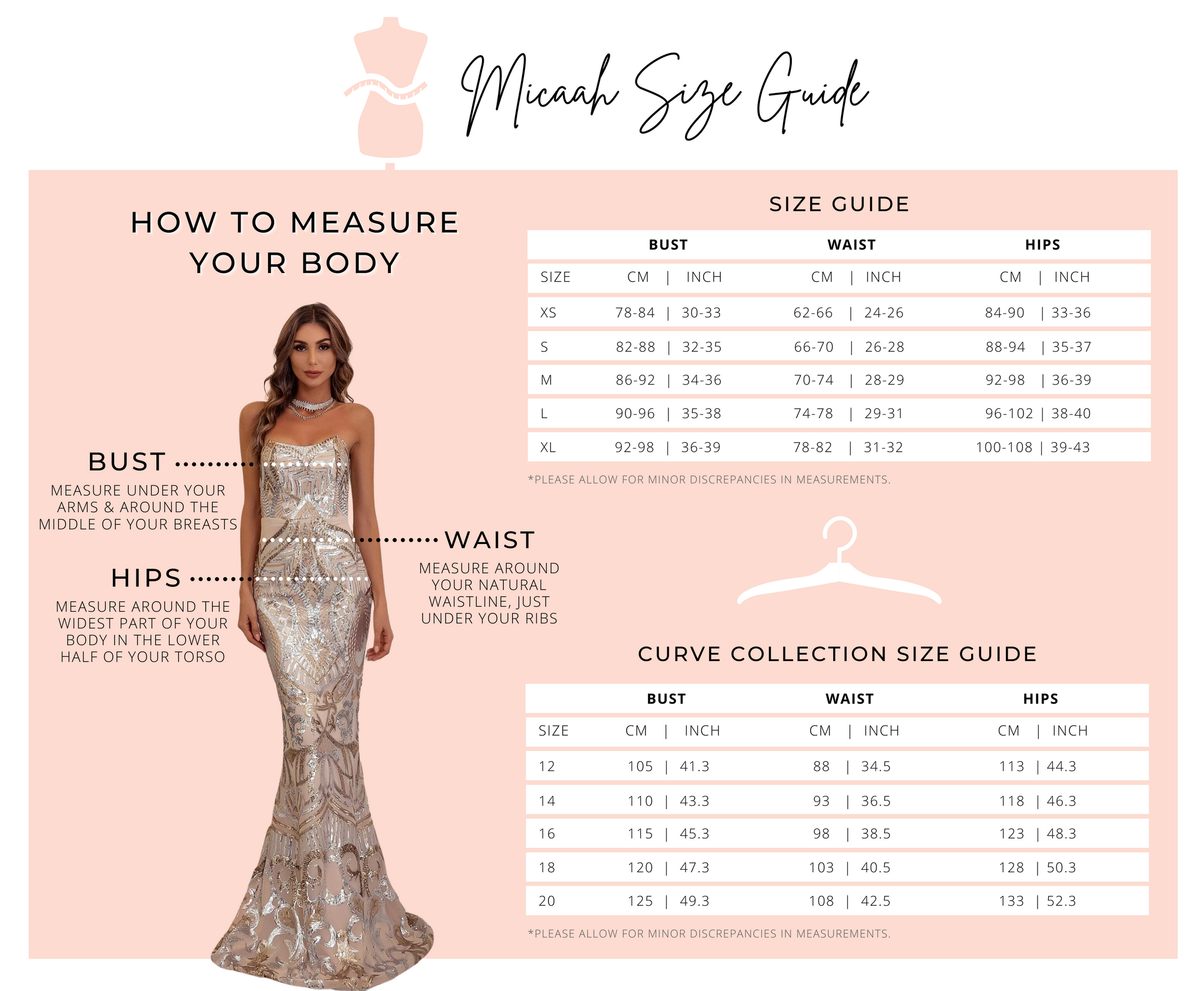 Micaah Size Guide  - Special Occasion Dresses Formal Dresses