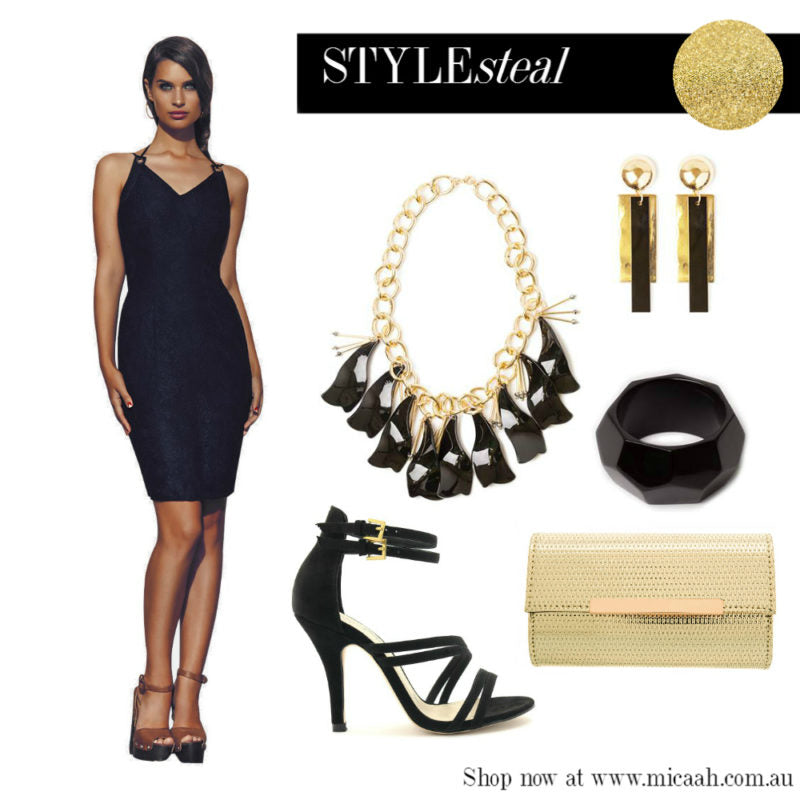 Ways to Wear a LBD - Black and Gold Accessories