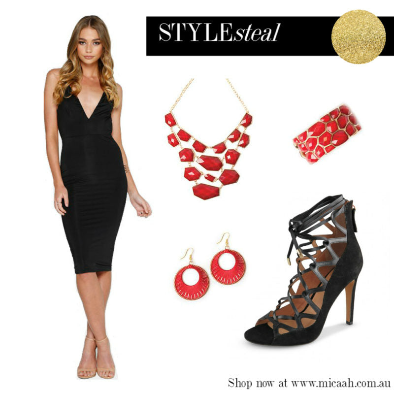 Ways to Wear a LBD - Black and Red Accessories