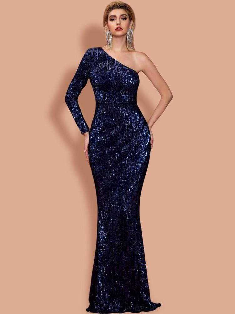 Anya Sequins One Sleeve Gown - Navy