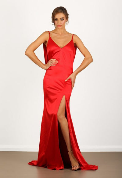 Camellia Satin Red Gown
