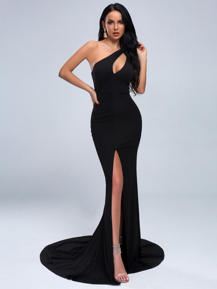 Claire One Shoulder Formal Dress - Black