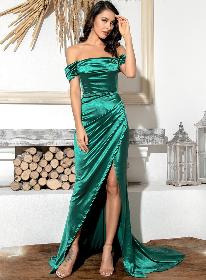 Sadie Off Shoulder Satin Gown - Emerald Green