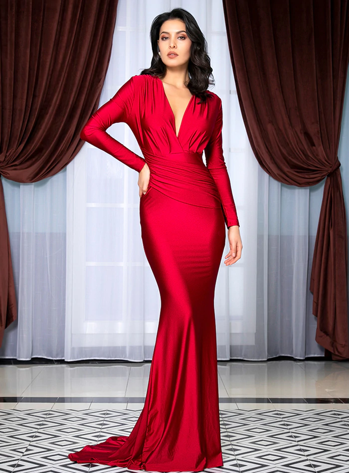 Mariska Satin Gown - Red
