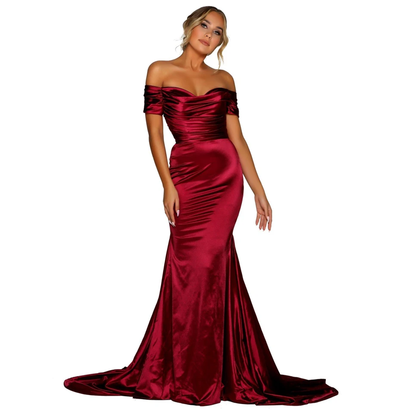 Paris Satin Gown -  Wine Red