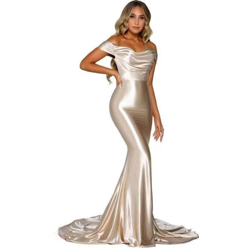 Paris Satin Gown -  Ivory Gold