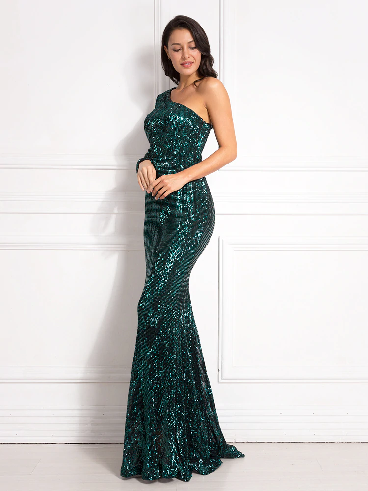 Anya Sequins One Sleeve Gown - Green