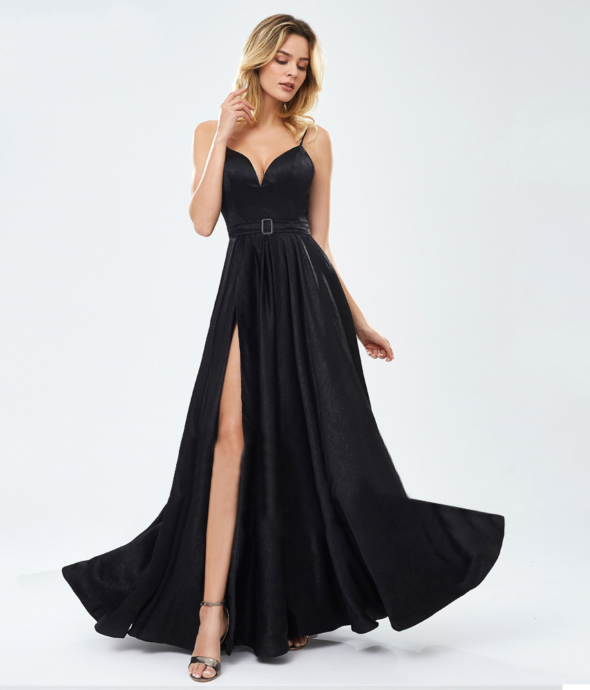 Evanna Satin Formal Gown - Black