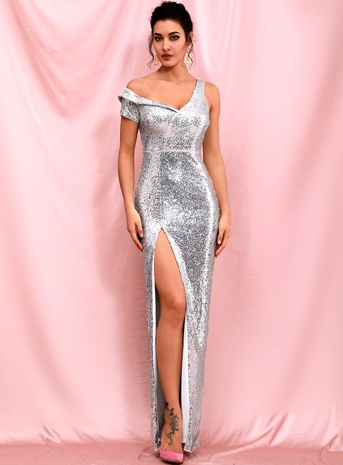 Trinity Silver Sequins Dress