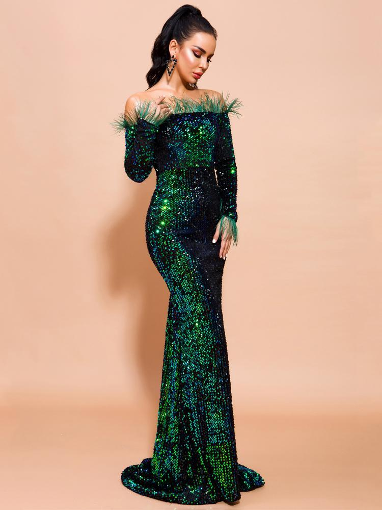 Isla Green Sequin Gown