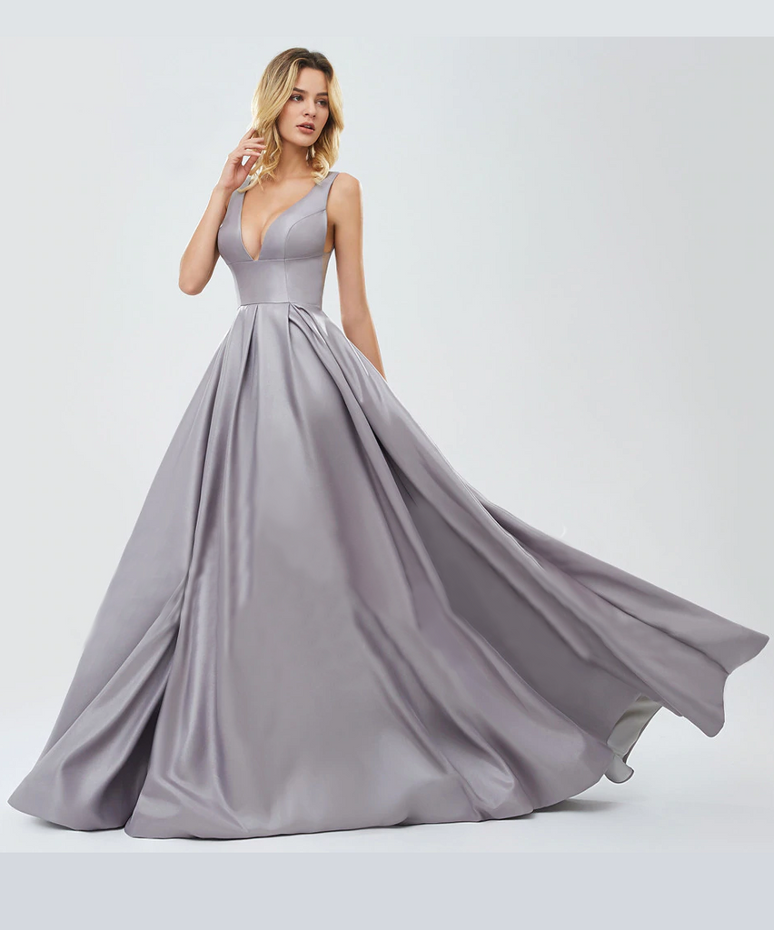 Letisha Satin Gown - Silver
