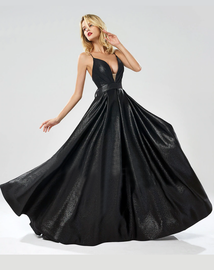 Radha Formal Gown - Metallic Black