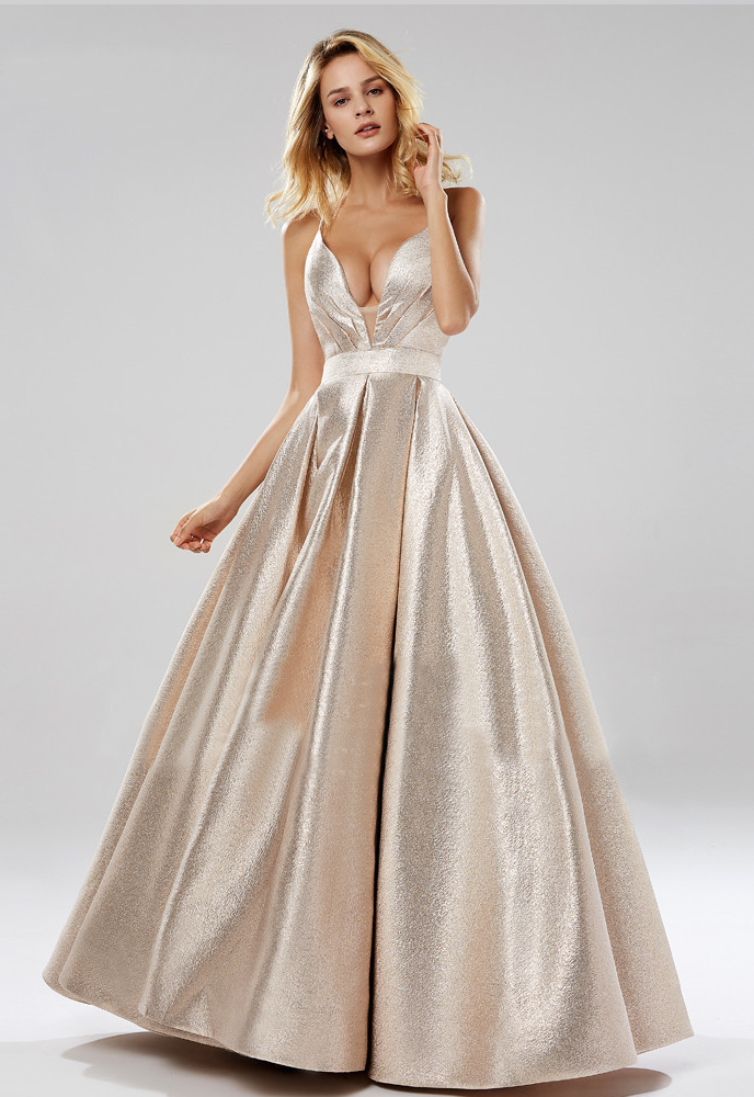 Radha Formal Gown - Metallic Blush