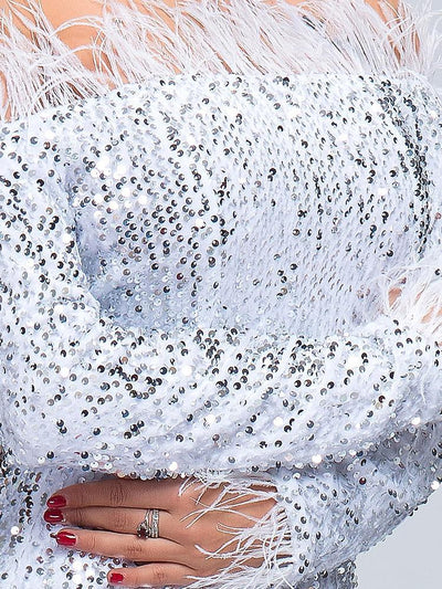 Isla White Sequin Gown