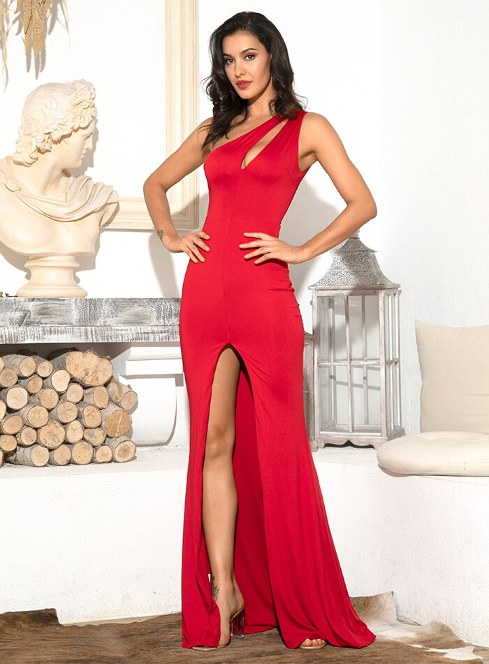 Mikayla One Shoulder Gown - Red