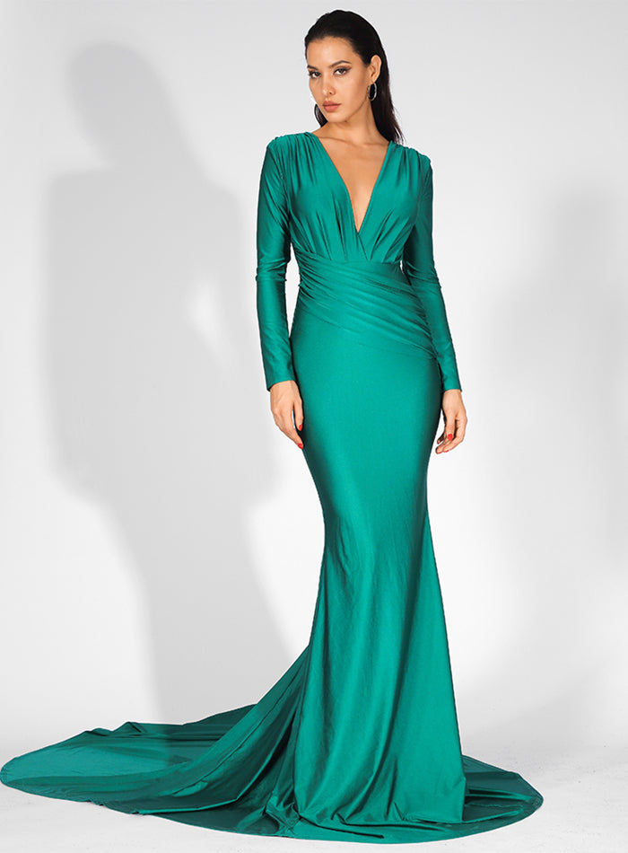 Mariska Satin Gown - Green