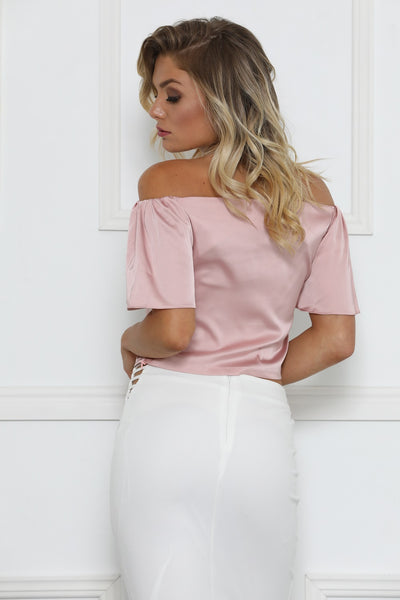 Skyler Satin Bardot Blouse - Blush
