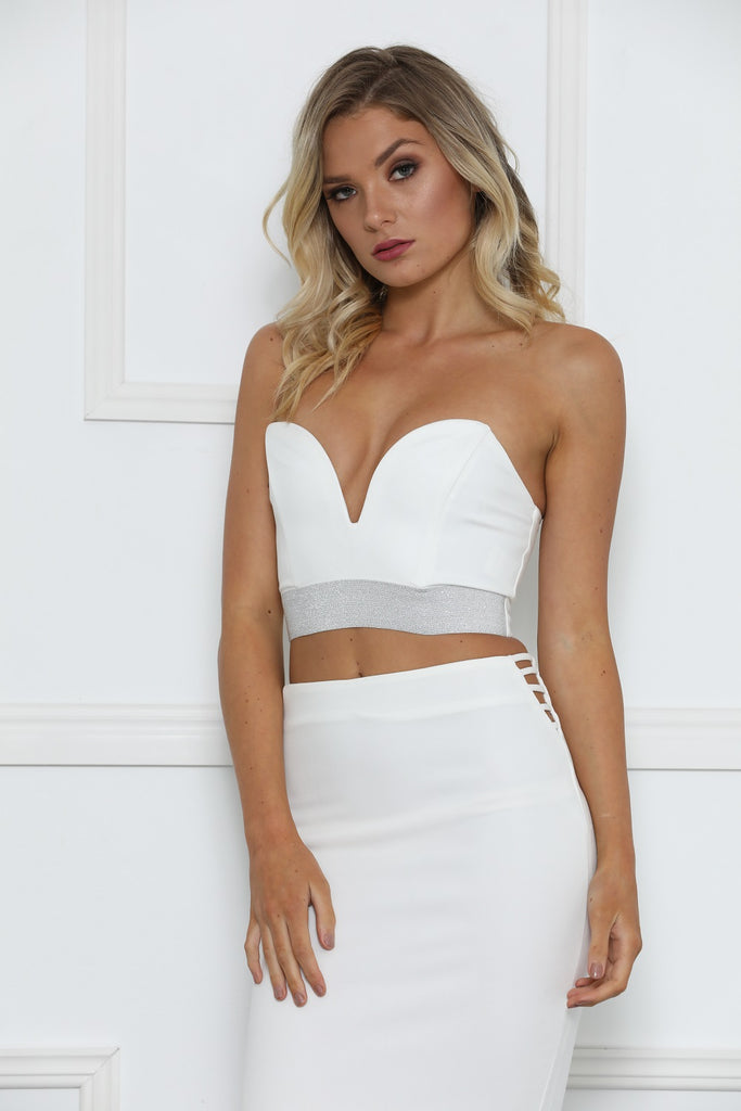 Ashley Sweetheart Crop Top - White