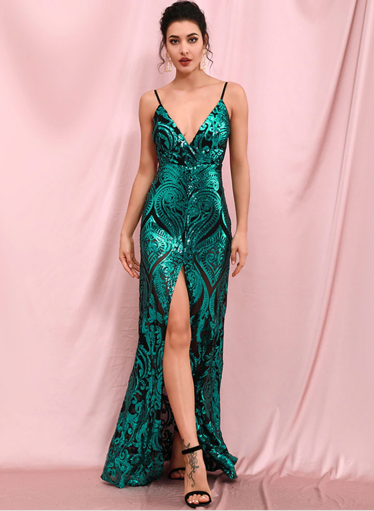 Willow Emerald Green Sequins Gown