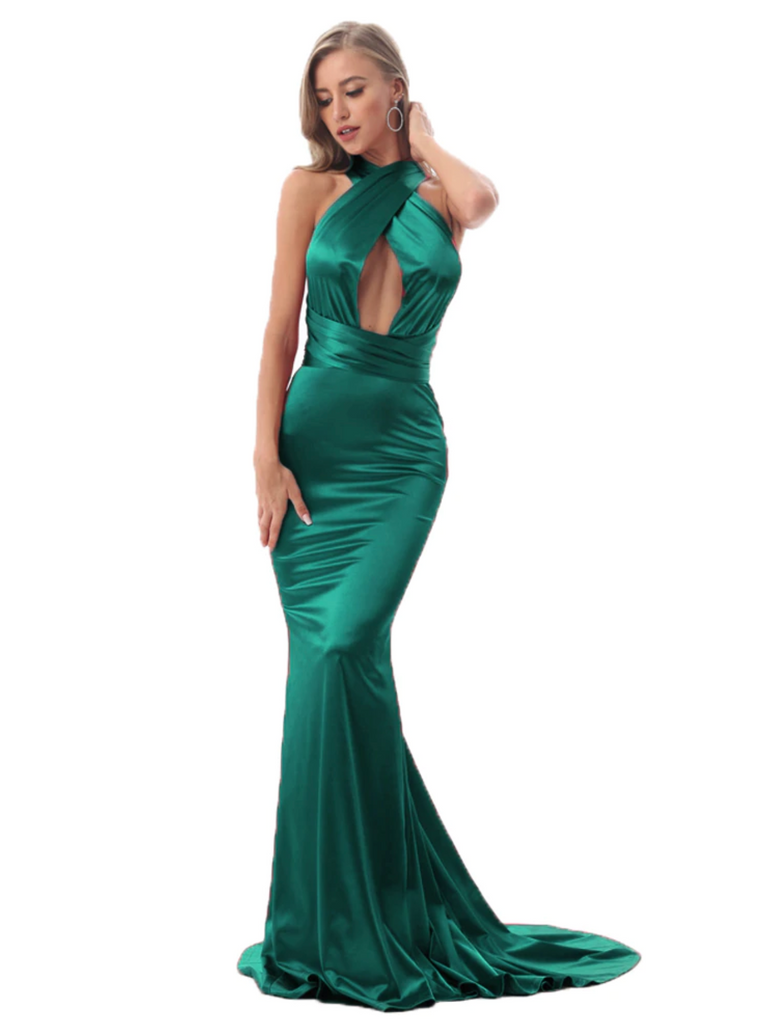 Imogen Multi-way Satin Gown - Green