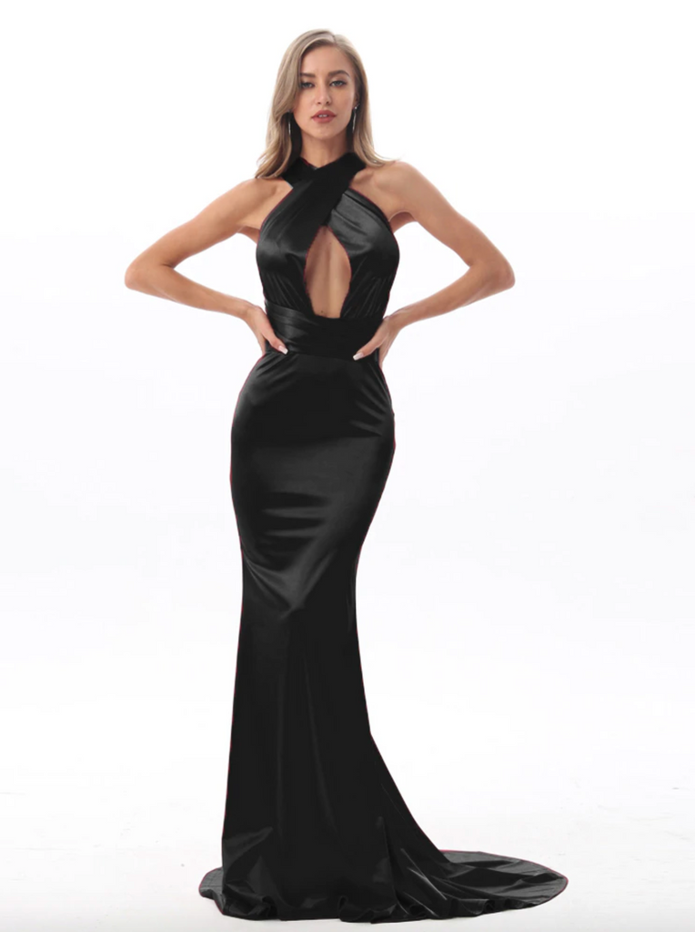 Imogen Multi-way Satin Gown - Black