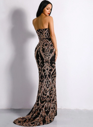 Nova Sequins Black Gown