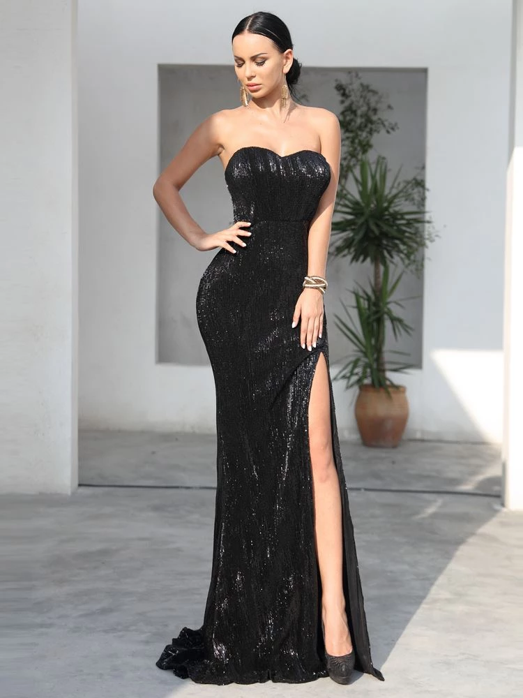 Eliza Sequins Black Gown