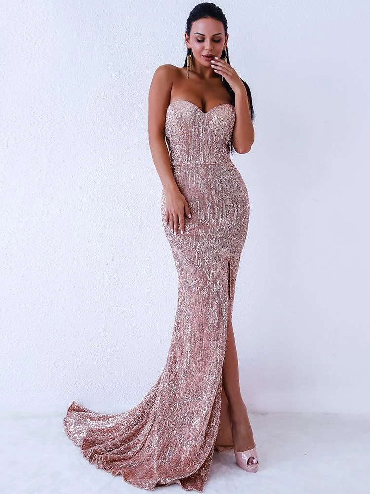 Eliza Sequins Gown - Rose Gold