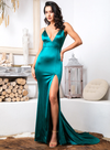 Envy Satin Gown - Green