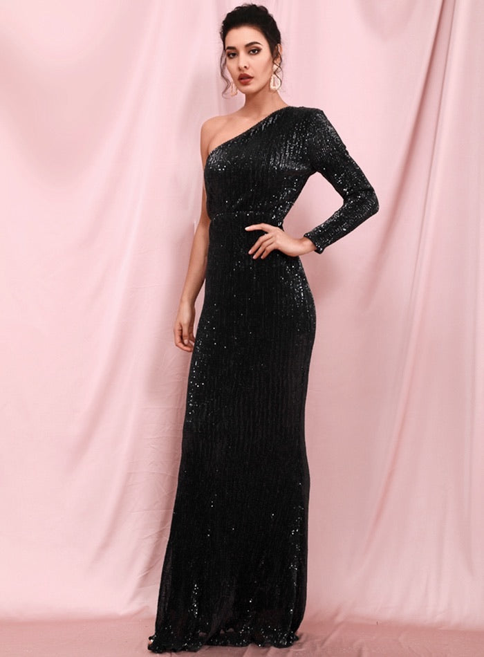 Anya Sequins One Sleeve Gown - Black