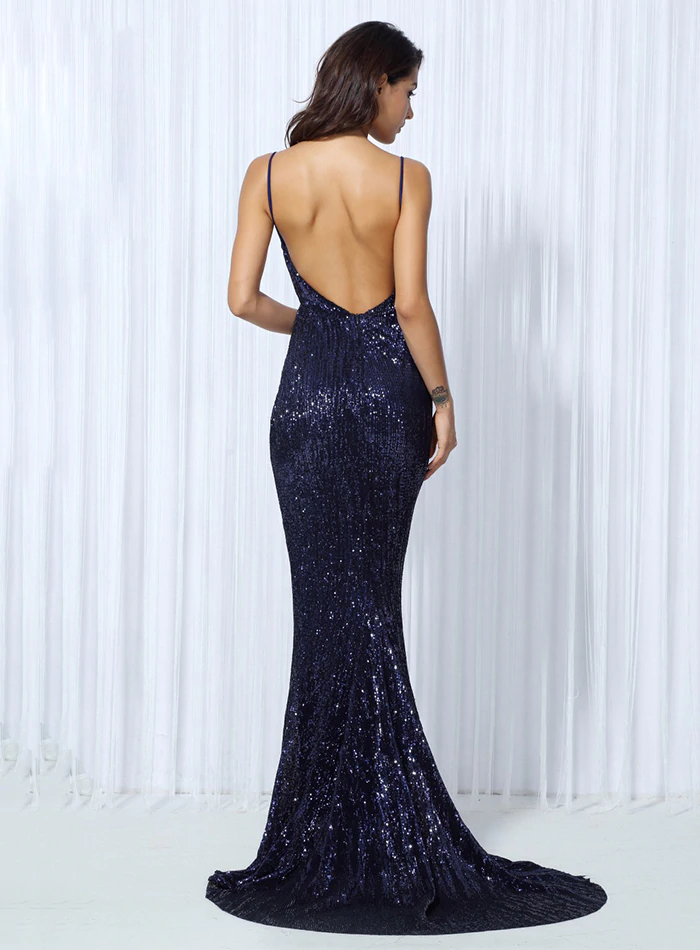 Kianna Sequins Gown - Navy