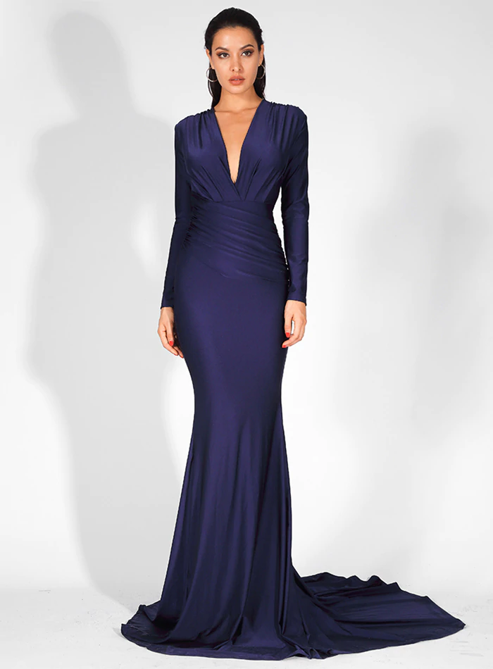 Mariska Satin Gown - Navy